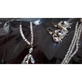 Collar, Aros Y Pulsera Antiguo De Cristal De Roca Y Plata