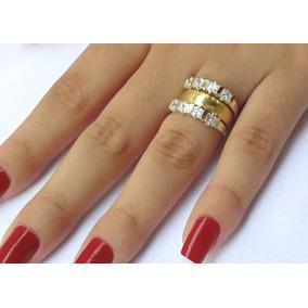 Par De Anéis Aparadores De Aliança Prata Pura E Ouro Maciço