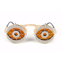 Oculos Sol Steampunk Duplo Flip Metal Olhos Estilo Futurista