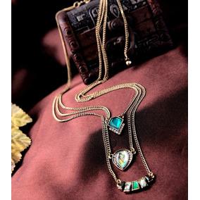 Collar Colgante De Tres Capas Imitacion Esmeralda