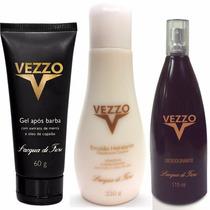 Emulsao Hidratante Vezzo + Desodorante Spray + Gel Pós Barba