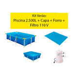 Kit Verão: Piscina 2.500 Litros + Capa + Forro + Filtro Mor