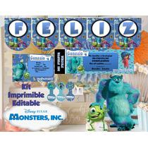 Kit Imprimible Monster Inc Editable Cumpleaños Candy Bar 2*1