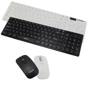 Kit Teclado Mouse Wireless Usb Sem Fio Slim C/ Capa Silicone