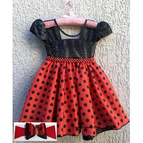 Vestido Minnie Poá Joaninha Bebe Disney Baby