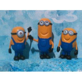 Muñecos Minions Torta ,personajes De La Tv En Masa Flexible