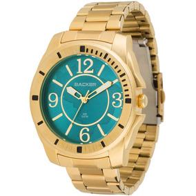 Relógio Feminino Backer 3334145f Az Turquesa Bremen Dourado