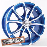 Kit X 4 Llantas Rodado14 Tvw Lido Azul Tuning 4x100
