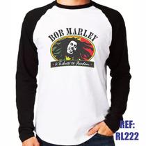 Camisa Raglan Manga Longa Bob Marley Tributo Reggae Jamaica