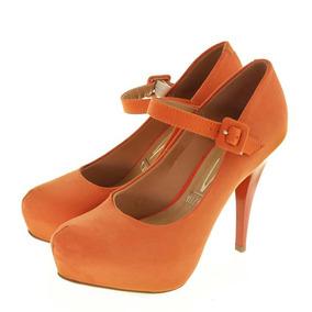 Sapato Feminino Laranja Camurça Flex Vizzano Salto 12cm