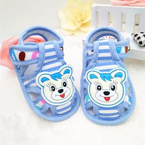 Sandália Sapatinho Ursinho Azul Bêbê Menino Criança Barato