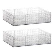 2 Organizador Empilhável Transparente Grande 32x23x8cm 837