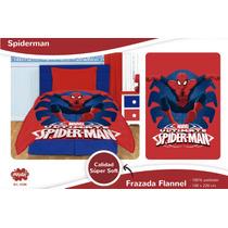 Frazada De Spiderman Hombre Araña Flannel Microfibra Piñata