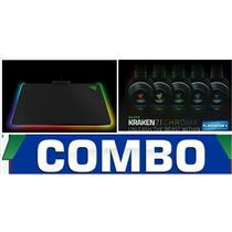 Combo Mouse Pad Razer Firefly Chroma + Headset Razer Kraken