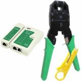 Kit Red Pinza Ponchadora Rj45 Rj11+ Probador De Cable