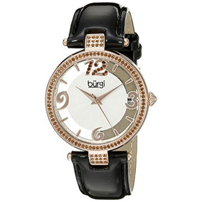 Burgi Womens Bur150bkr Rose Gold Quartz Watch With Swarovski