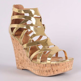 Zapato Sandalia Mujer Plataforma Corcho Qupid Dorado Negro
