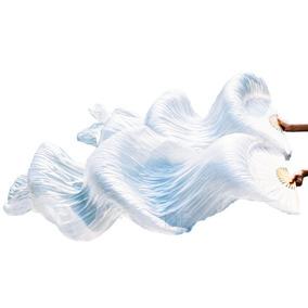 Par Véu Leque Dança Do Ventre Fan Véu Belly Dance Branco