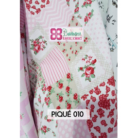 Tela Pique Bombona Chic Shabby Patch Rosa Cuadros Flor N 10