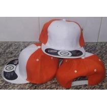 Gorra Plana Para Bordar Blanco / Naranja Ajustable Broche.