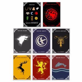 8 Posters Game Of Thrones - Houses - Tamanho A4 Sem Moldura