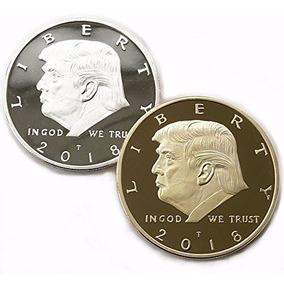 2018 Donald Trump Oro Y Plata 38mm Monedas Del Dólar 2 Paque