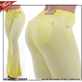 Promoção !!! Calça Jeans Flare Amarela Pit Bull. Ref 25655