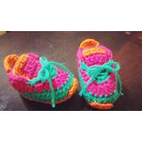 Zapatillas Estilo Nike Crochet Bebe Multicolor