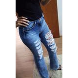 Calça Jeans Cintura Alta Destroyed Federika Promoção