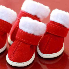 Botitas Botas De Perro Navidad Santa Claus 4 Piezas Frio