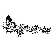 Adesivo De Parede - Flores Folhas Natureza Plantas Borboleta