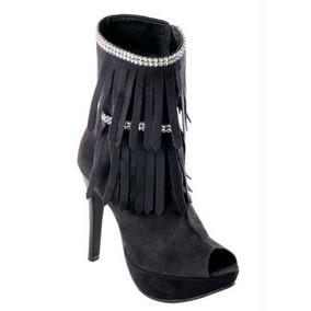 Bota Ankle Boot Feminina - Com Franja E Strass Barato!