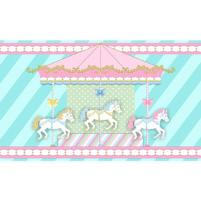 Painel De Festa Infantil 300x170 Carrossel Azul Tiffany