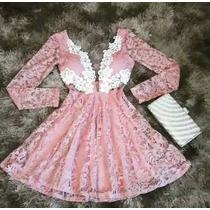 Vestido Renda Com Aplicação / Guiupir/ Aberto Dos Lados