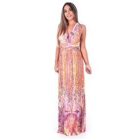 Vestido Longo Fenda Com Decote Profundo Estampado Amarração