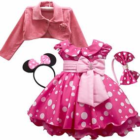 Vestido Minie Rosa Luxo Infantil Minei Minnie Bolero Rosa