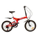 Bicicleta Plegable Konami Color Roja Aro 20 Acero 7 V