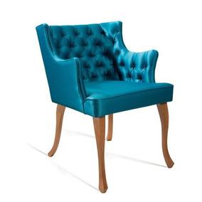 Poltrona Daf Luís Xv 54 Cm - Cetim Azul Esverdeado