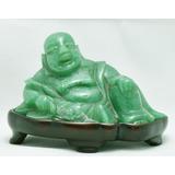 Antiguo Buda Oriental Jade Aventurina Natural 100% Autentico