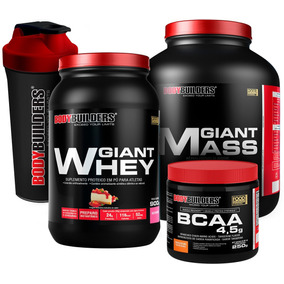 Kit Giant Mass 3kg + Giant Whey 900g + Bcaa 4.5 Powder + Coq