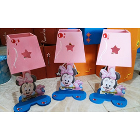 Lamparas Minnie Mouse Baby Personalizadas Centro Mesa Madera