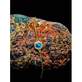 Pulsera De Ópalo Natural Y Zirconias,oro, Opalo Azul