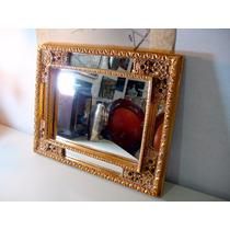 Espelho Europeu Retangular Moldura Com Folhas De Pó De Ouro