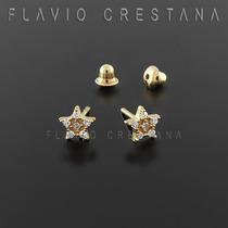 Brinco Ouro 18k, Estrela, Brilhantes Naturais, Tarracha Baby