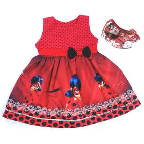 Vestido Roupa Festa Miraculous + Sapatilha Infantil