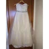 Lindo Vestido De Noiva Com Renda E Cinto Bordado