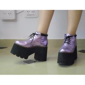 Zapatos Plataformas Lila Con Brillos Numero38 2 Usos