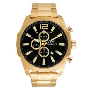 Relógio De Pulso Aimant Lyon - Gold Black- Gly-150sg-1g