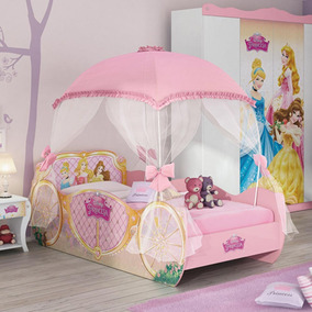 Cama Princesas Disney Star 6a Rosa C/ Dossel 6a - Pura Magia