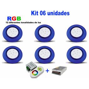 Luminária Piscina Luz Rgb Led 9w - Kit Com 06 Unidades